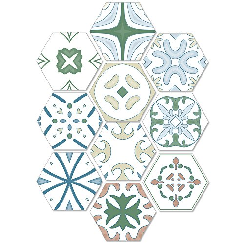 Portuguese Style Floor Tile Stickers Waterproof Non-Slip Twill Wall Stickers Bathroom Decoration -