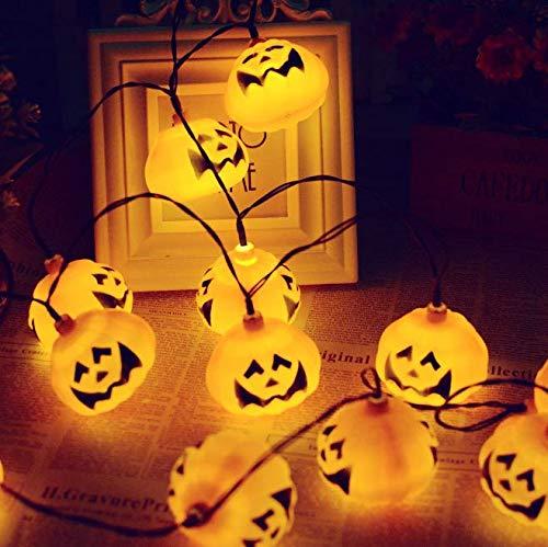 Linfei Solar Lichterkette 20Led Kürbis Laterne Halloween Outdoor Dekoration Lustige Urlaub Dekoration Blitzlicht (Warmes Weiß)