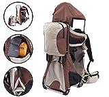 MONTIS Ranger PRO Kinder- Baby- u. Rückentrage, geeignet für Kinder (Babys & Kleinkinder mit stabilem Sitz), Babytrage mit Tragesitz, Sonnen- und Regenschutz, Kraxen-Rucksack-System Wandern, Sand