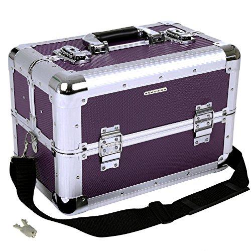 Songmics Kosmetikkoffer XXL groß für Gepäck 36,5 x 22 x 25 cm Alu, Schwarz JBC228