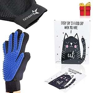 GOLDSTA Fellpflegehandschuh für Katze, Hund, Hase | Fellhandschuh - Pflegehandschuhe | Katzenhandschuh - Hundehandschuh | Hundebürste & Katzenbürste |Striegel, Katzen Zubehör | inkl. Postkarte mit Katzenmotiv 😺 Geschenkverpackung verfügbar 🎁