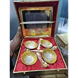 King International Silver And Gold Plated Indian Handcrafted Brass Bowl Serving Set With Velvet Golden Gift Box,Diwali Gifting,Corporate Gifting Box 9 Pieces