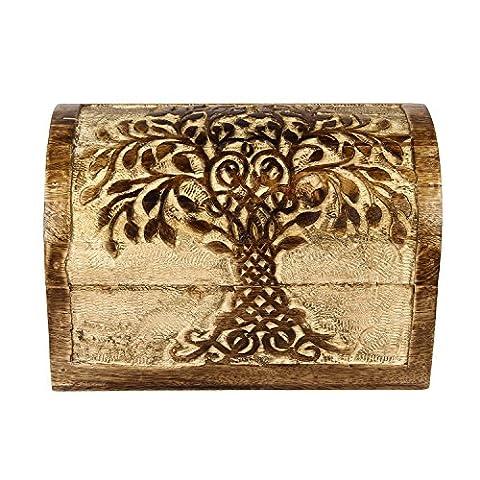 Icrafts en bois Arbre de vie souvenir à bijoux boîte à bijoux de stockage Organiseur | fait à la main | (23x 15.5cm)