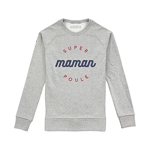 Sweat - Super Maman Poule - Made in France Gris