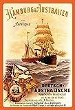 Dampfer Dampfschiff Hamburg - Australien Blechschild Metallschild Schild gewölbt Metal Tin Sign 20 x 30 cm
