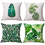 """6o 4pcs duradero conjuntos de lino y algodón manta funda de almohada cubiertas decorativas cojín cuadrado con 18""""x18"""" (45x 45cm, Tropical Plants, talla única"""