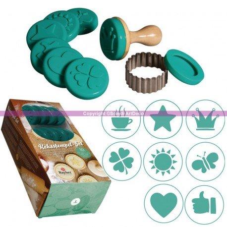 Kit de 8 Motifs silicone pour biscuits, avec Manche bois, 8 Tampons, 1 emporte pièce inox