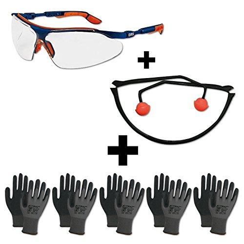 Arbeitsschutz Set Basic - Augenschutz Gehörschutz Handschuhe