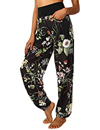 BaiShengGT Damen Pumphose Haremshose Blumenmuster Aladinhose Lange Yoga Hose 37698b0078