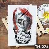 Dentelle Masque de Plume Fille Autocollant de Tatouage temporaire Rose crâne Triste et Belle imperméable à l' Eau de Tatouage Art Faux Tatoo pour Les Femmes 2 Pcs-