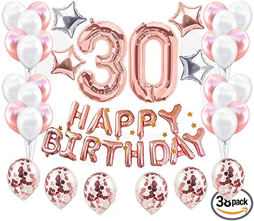 JeVenis 38 Stück 30. Geburtstag Dekorationen 30. Geburtstag Party Supplies Adult