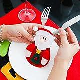 Besteckhalter Weihnachten Hirolan Weihnachtliche Tischdeko 3 Stück Weihnachten Weihnachten Dekor Sankt Küche Geschirr Halter Schneemann Tasche Abendessen Besteck Tasche (Rot) - 2