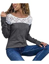 Damen Langarm T-Shirt mit Floral Spitze Basic Shirt Große Größe, Rovinci  Frühling Sommer c2352d545e