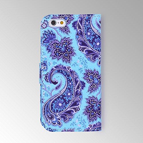 iPhone 6 Plus / 6s Plus Étui, Urcover Wallet Housse Style Livre [Motif Ancre] Coque Apple iPhone 6 Plus / 6s Plus Case avec Fente pour Cartes + Support Téléphone Smartphone Henné Style 1