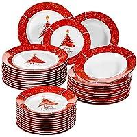 VEWEET, Serie Christmastree,36 Piezas vajillas de Porcelana, vajillas para Navidad, 12