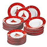 VEWEET, Series Christmastree, 36-Piece Porcelain Plate Set, Tableware Service for 12 Person Christmas, with Dessert Plate, Soup Plate and Dinner Plate