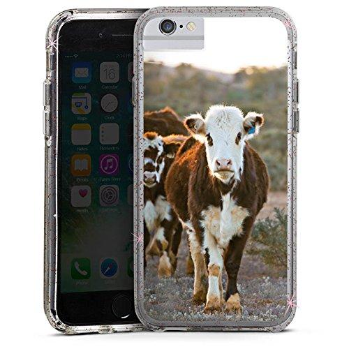 Apple iPhone 7 Plus Bumper Hülle Bumper Case Glitzer Hülle Kuh Kuehe Kalb Bumper Case Glitzer rose gold