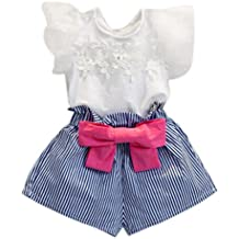 2e021566cbfe4 Botas Falda bowknot vestido tut ... Ropa Bebe Niña ❤ Amlaiworld Camiseta de  encaje niña + pantalón corto a rayas Conjunto