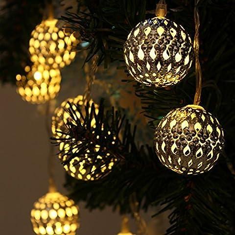 JVJ Guirlandes lumineuses LED Solaire étanche Forme de lanterne métal