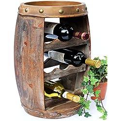 Botellero vino Barril 1555Bar Botella Soporte 50cm para 8fl. Estantería Barril Madera Barril