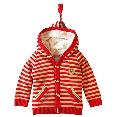 Cardigan Invernale per Bambini con Cappuccio a Righe