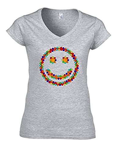 Smiling smileys funny logo t-shirt femme col V coton X-Large