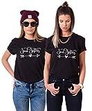 Best Friends T-Shirt mit Soul Sisters Aufdruck für Zwei Damen Mädchen Sommer Oberteil Geburtstagsgeschenk 2 Stücke Partnerlook Kurzarm Tops (Schwarz + Schwarz, M + M)