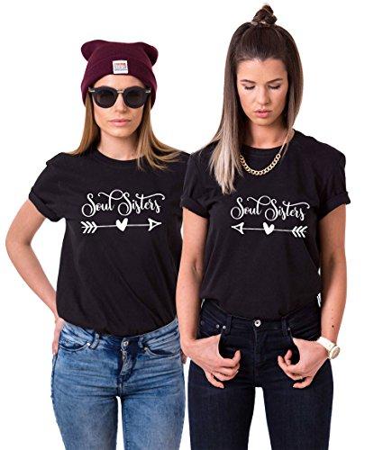 Couples Shop Best Friends T-Shirt mit Soul Sisters Aufdruck für Zwei Damen Mädchen Sommer Oberteil Geburtstagsgeschenk 2 Stücke Partnerlook Kurzarm Tops (Schwarz + Schwarz, L + XXL) -
