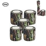 Camo Wrap Tape Armée Militaire Camouflage Bande s'accrocher pour Fusils de chasse Camping, Auto-adhésif Protection Rouleau de bandage extensible, non-tissé, 15ft x 2 pouces, 5-Pack