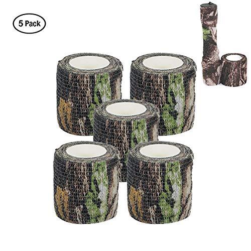Camo Wrap Klebeband Militär Armee Tarnung Klebeband für Schrotflinten Jagd Camping, Selbstklebende Stretch Verband Rolle, 5 Stücke (Wald Camo) -