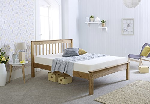 4ft 6 Standard Double Solid Pine Wooden Bed Bedframe - Waxed Pine Finish