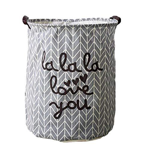 Kanggest Cubo Plegable de Lino y algodón Cesta para la Ropa Sucia, Bolsa de Almacenamiento para Colada. Barril Durable para Ropa (Gris)