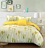 Summer Breeze Floral 100% Cotton Duvet Cover Wild Flowers Reversible Cream Yellow Bedding Set (King)