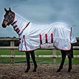 Derby House Classic Fly Rug White/Red 5ft3