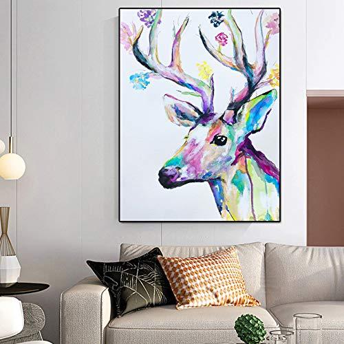 RTCKF Quadro Animale acquarello Arte Pittura Blu Cervo Tela Foto Pittura murale per Soggiorno Decorazione Domestica (Senza Cornice) A2 30x40CM
