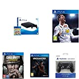 PlayStation 4 (PS4) - Consola De 500 GB, Color Negro + Voucher ¡Has Sido Tú! + FIFA 18 - Edición Estándar + Call Of Duty WWII + Uncharted: El Legado Perdido + Sony - Dualshock 4 V2 Mando Inalámbrico, Color Negro V2 (PS4)