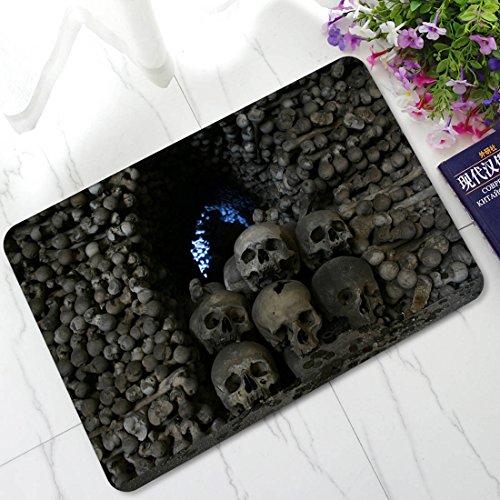 tifee Wasser-Tür-Matten Gothic Totenkopf aus Gummi, Rutschfest, mit Behinderung Teppich Innen- und Außenbereich Fußmatten Halloween Dekoration, Stacked Skull, 45 * 70cm