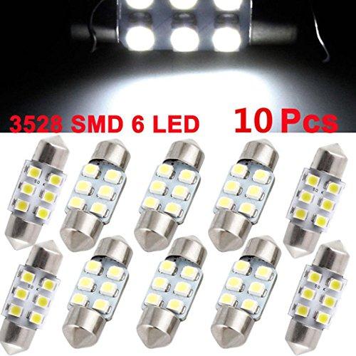 HKFV 10 X Weiß 31 MM Girlande Dome Karte Innen LED-Licht 3528 6-SMD Lampe DE3175 3022 Nummernschilder Lichter