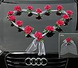 Décoration de voiture ORGANZA HERZ, mariée, couple, rose, décoration, décoration de voiture mariage, guirlande rose, automobile rose/blanc