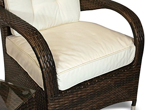 Ultra Stylish Arizona Rattan 2 Seat Arm Chair set & Small Glass Table + Cushions + Dust Cover Armchair Garden Patio Conservatory Lounge Furniture (Assembled)