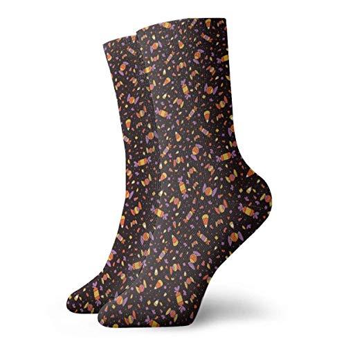 Zhengzho Niedliches Halloween-Süßigkeits-Mais-Muster Socken Atmungsaktive Damen Herren bedruckte Baumwolle Flachstrick Crew Sport Athletic Socken 30cm
