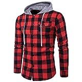 Herren Hoodie,TWBB Autumn Winter Gitter Patchwork Sweatshirt Casual Tops CardiganShirt Lange Ärmel Männer V-Neck Schlank Hemd