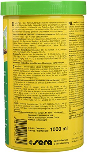 sera 00670 flora 1000 ml – Die Grünflocken mit viel Spirulina für lebendgebärende Zahnkarpfen, Malawi- und Tanganjika Cichliden im Süßwasser- und Meerwasseraquarium - 4
