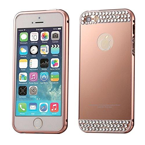 Pour iPhone 5 & 5s & SE Diamant incrusté Push-pull style métal plaquage châssis cadre + Acrylique Back Cover Combination Case YAN ( Color : Pink ) Pink