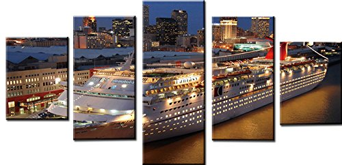 wowdecor Art Wand 5Stück Leinwand Prints mehrere Bilder-Sea Karneval Cruise Night View Giclée-Bilder Gemälde auf Leinwand gedruckt, Poster Wand Decor Geschenk, ungerahmt, S