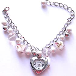 White & Pink Faux Pearl, Round Faceted Crystal & Heart Shaped Beaded Bracelet With Silver Coloured Heart Shaped Watch Face