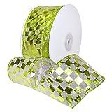 Morex Ribbon 7423.60/50–502Französischer Wired Nylon Schachbrett Folie Band, 21/5,1cm X 50YD, weiß/lime