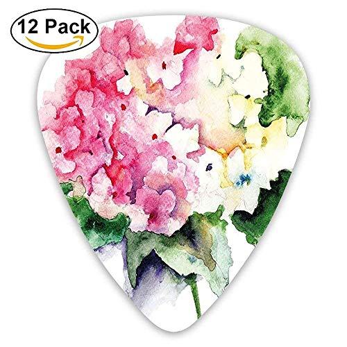 Hydrangea Flower Bouquet In Watercolor Blossoms Botany Petals Guitar Picks 12/Pack Set Bouquet Natural Wood