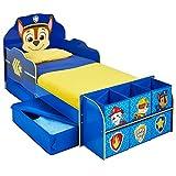 TW24 Jugendbett 140cm x 70cm - Bett - Kinderbett mit Schubladen + Regal Paw Patrol blau