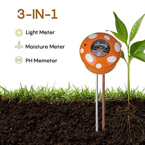 Cassiela Meter Digitale Garten 3-in-1-Rundkopf Blumentopf Prüfgerät Bodenprüf Gerät Hygrometer Von Garten Bauernhof Innen Und Außenp Flanzen -